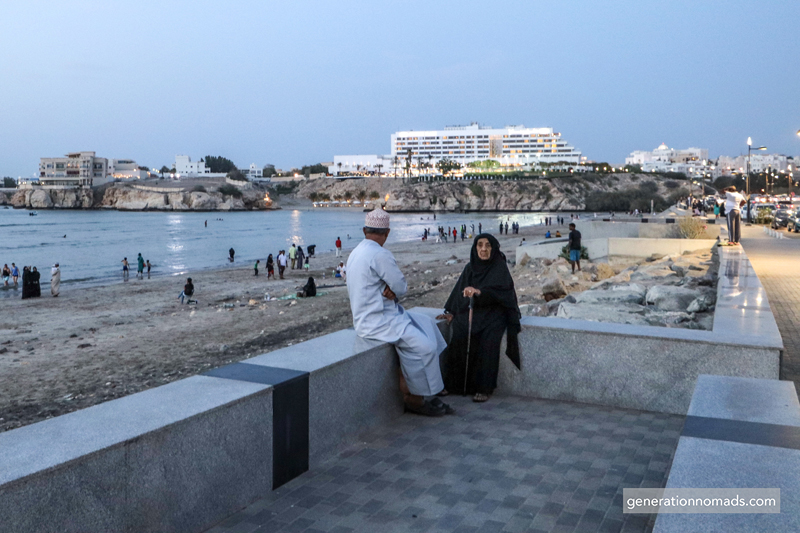 Omani couple by Al Qurum beach in Muscat