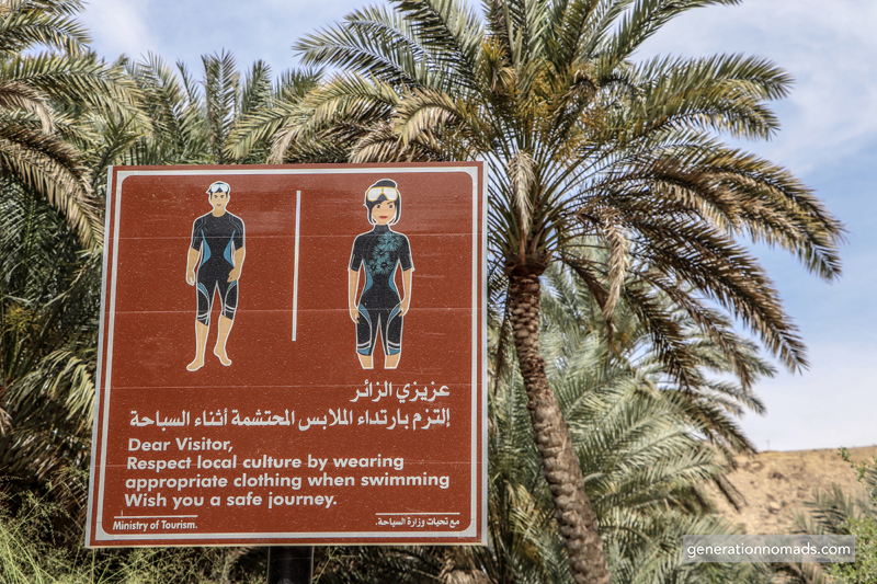 Strict dress code at Wadi Bani Khalid